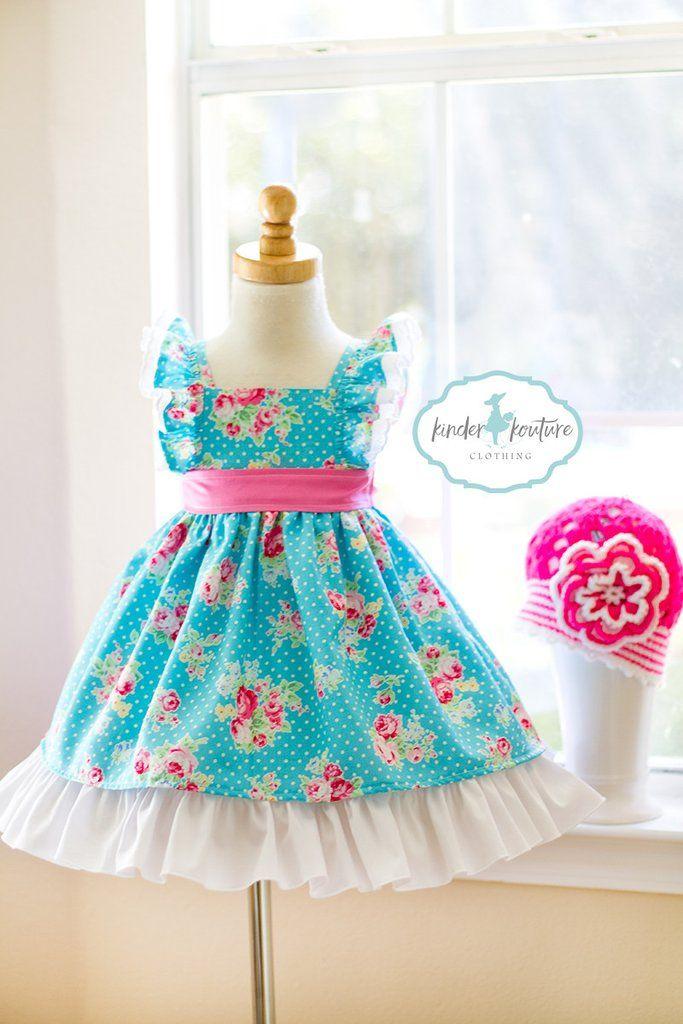 Aqua Adelina Girls Vintage Flutter Dress - Kinder Kouture Boutique Clothing - 1