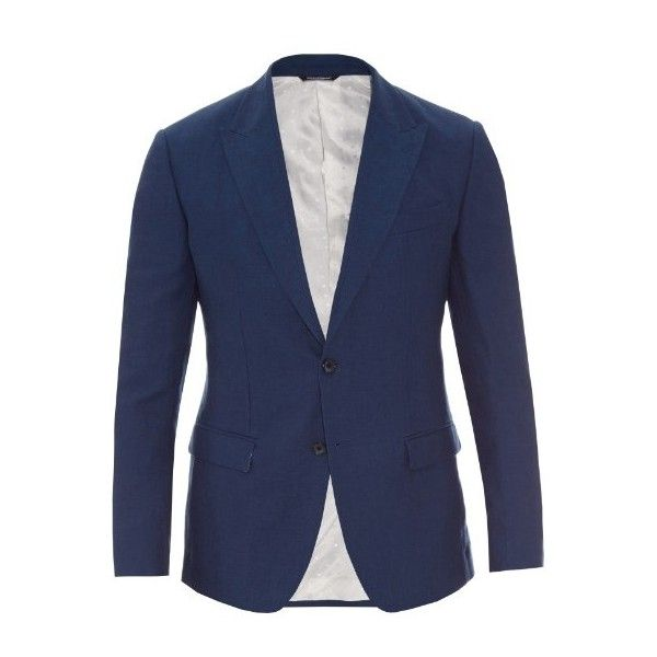 Dolce & Gabbana Peak-lapel linen-blend jacket (6.560 RON) ❤ liked on Polyvore featuring men's fashion, men's clothing, men's outerwear, men's jackets and blue