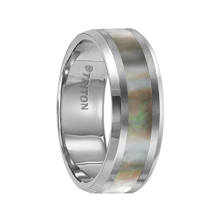 Triton Rings - HADLEY Beveled Edge Tungsten Carbide Comfort Fit Band with Abalone Shell Inlay - 8 mm