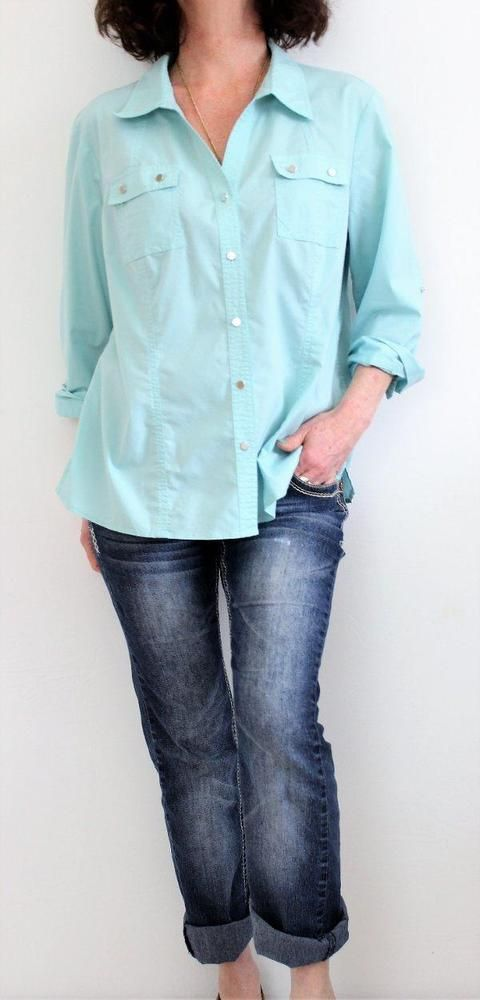 Christopher & Banks Cotton 3/4 Sleeve Button Down Shirt Aqua Sz XL #ChristopherBanks #ButtonDownShirt