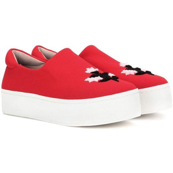 Opening Ceremony Cici Platform Slip-on Sneakers ($340) ❤ liked on Polyvore featuring shoes, sneakers, red, platform slip on shoes, opening ceremony sneakers, slip on shoes, red sneakers and platform slip on sneakers
