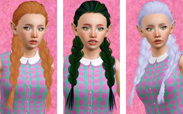 Double dimensional fishtail hairstyle Skysims 182 retextured by Beaverhausen for Sims 3
