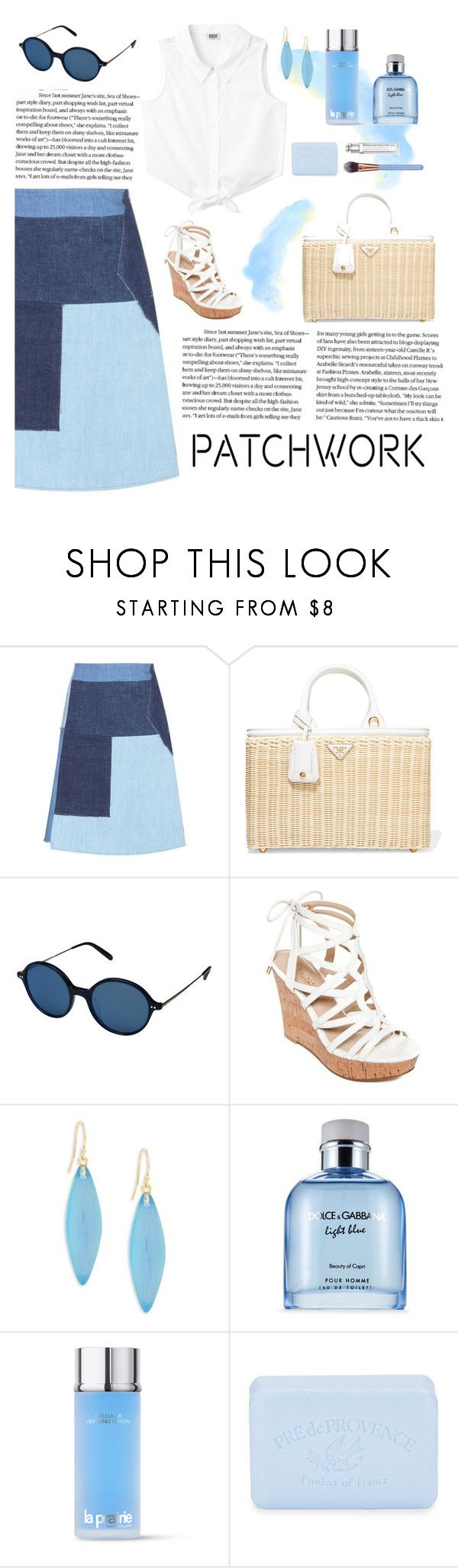 """Patchwork"" by dere-dei ❤ liked on Polyvore featuring M.i.h Jeans, Prada, Oliver Peoples, GUESS, Alexis Bittar, Dolce&Gabbana, La Prairie, Pré de Provence and Luxie"