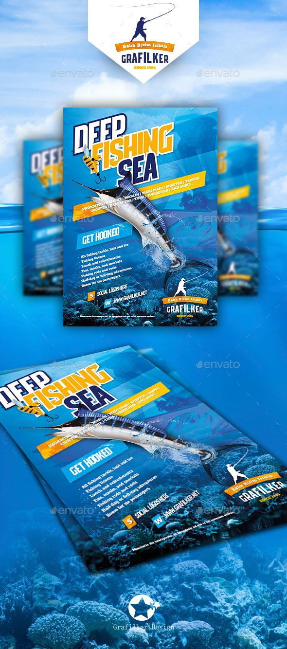Fishing Flyer Template PSD, InDesign INDD. Download here: http://graphicriver.net/item/fishing-flyer-templates/15737734?ref=ksioks