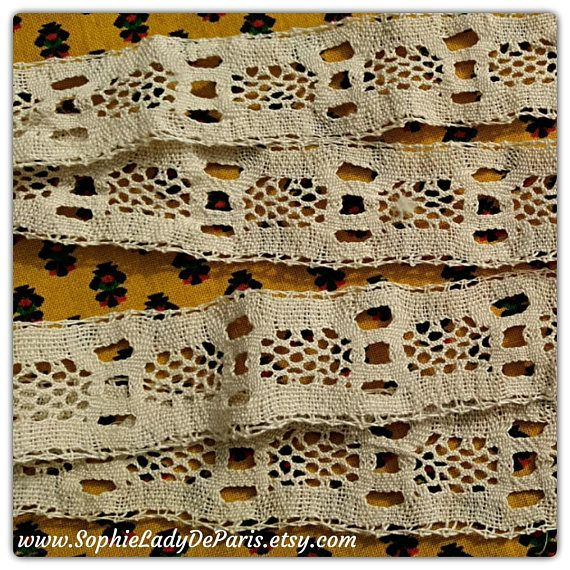 Victorian Bobbin Lace Braid Beige French Cotton Lace Shelf Edging Home Decor Sewing Project Collectible #sophieladydeparis
