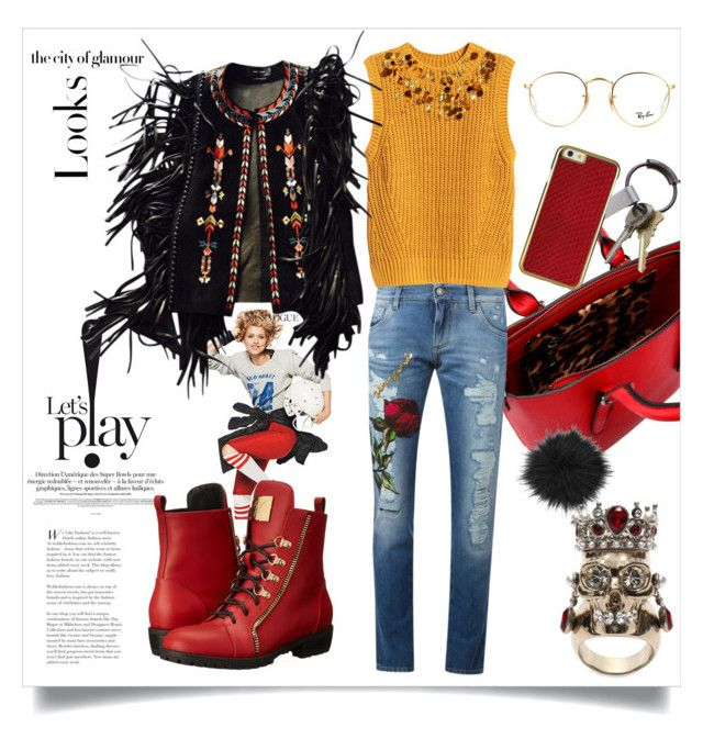 """""""Let's p!ay"""" by ildiko-olsa ❤ liked on Polyvore featuring Dolce&Gabbana, H&M, Isabel Marant, Giuseppe Zanotti, CB2, Ray-Ban, Alexander McQueen and MML"""