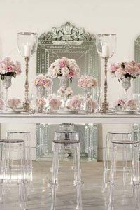 Pink floral and ghost stools #eventstyling: Love, Ghosts Stools, Photos Galleries, Pink Flowers, Venetian Mirror, Blushes Pink, Dinners Table, Backdrops Parties, Blushes Bride
