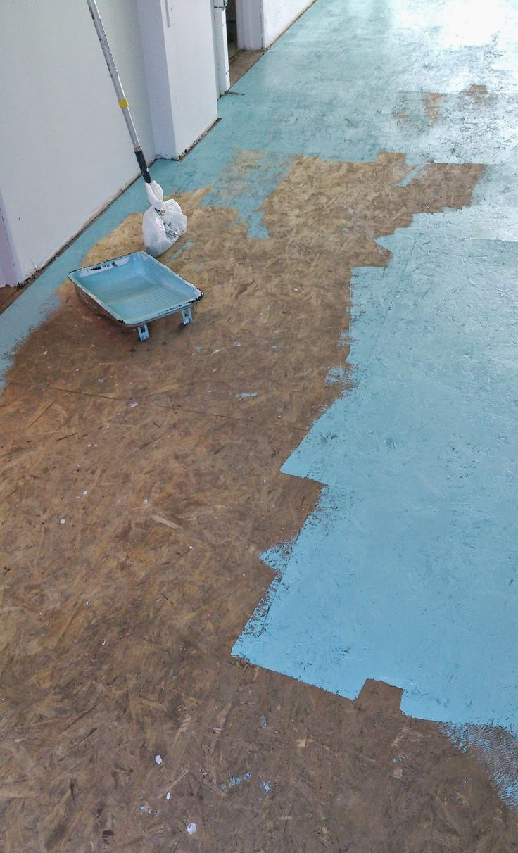 Dans le Lakehouse : DIY Painted Particle Board Floor (Mmmm, Teal)