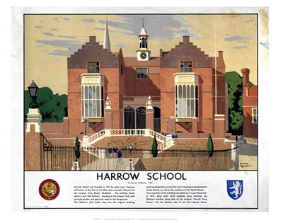 Harrow school depicted in British Rail promo poster.