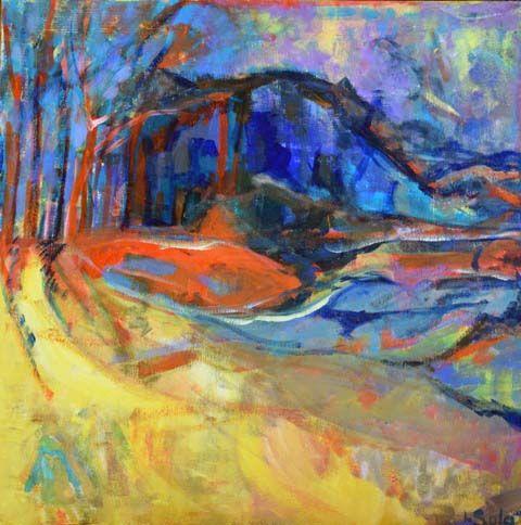 Jennifer Sulaj 'Yellow Fields Summer' Acrylic on Canvas 45cmx45cm