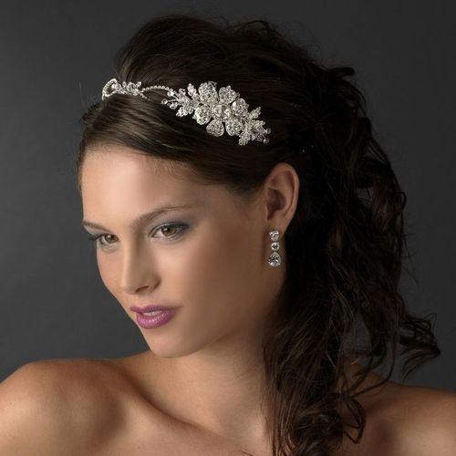 Crystal Rhinestone Side Accent Silver Headband Bridal