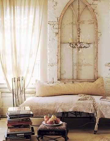 (em... chandelier has been lowered for the photo shoot?): Idea, Shabby Chic, Headboards, Arches Window, Old Window, Antiques Window, Church Window, Home Decor Bedrooms, Window Frames