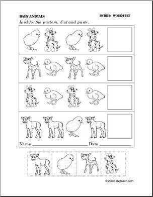 kindergarten cut and paste worksheets  worksheet baby animals  kindergarten cut and paste worksheets  worksheet baby animals  follow  the pattern abcteachcom  themes  pinterest