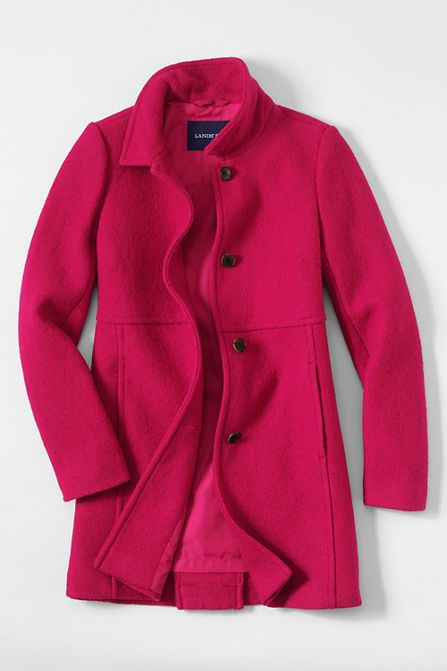 Women's Berry Red Boiled Wool Coat - With its beautiful texture ...