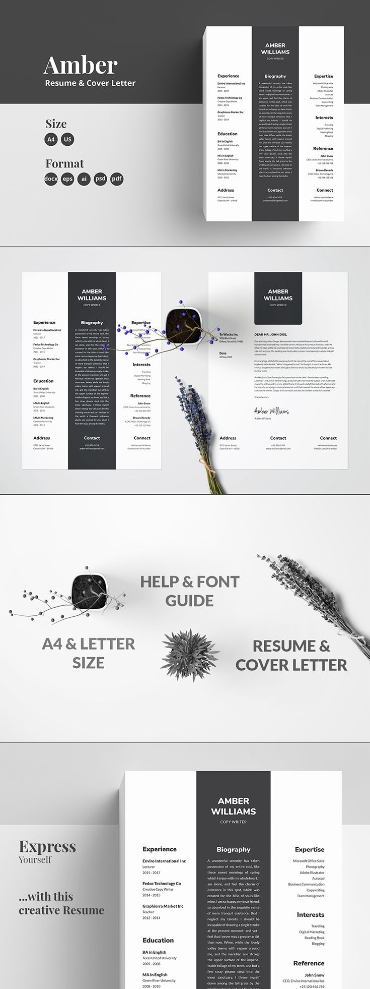 Resume Cv With Cover Letter Word Docx Template For Job Seekers