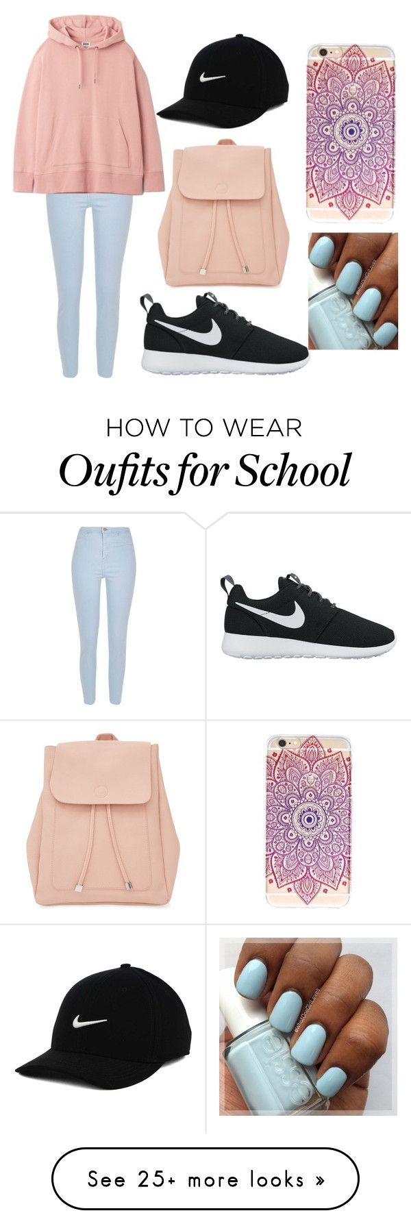 """school again?"" by destgreen on Polyvore featuring River Island, NIKE and New Look"