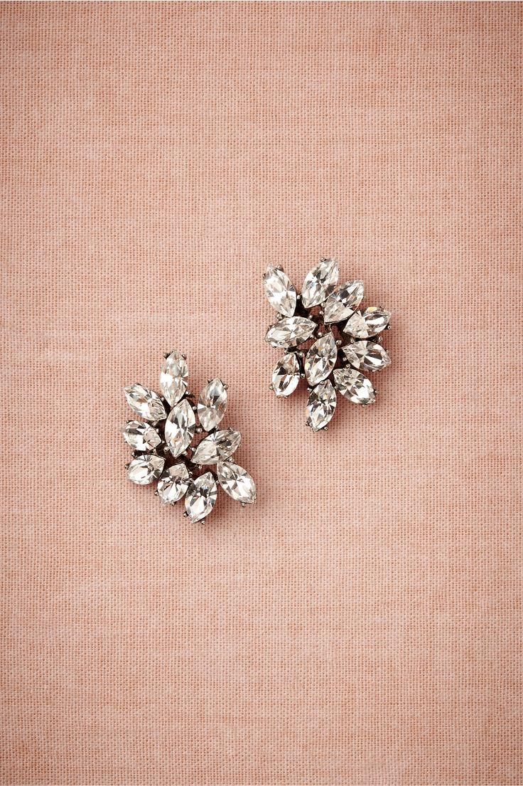 Bhldn's Benamun Marquee Crystal Earrings In Silver