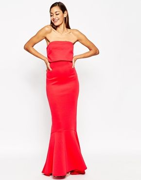 jewelry collection name ideas ASOS Extreme Fold Fishtail Bandeau Scuba Maxi Dress