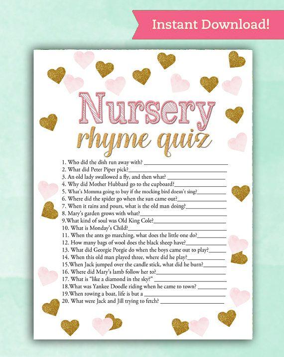 Baby Shower Game Nursery Rhyme Quiz – Pink Gold Hearts – Printable Digital Instant Download Stars Glitter Girl Pretty Baby glam shower DIY