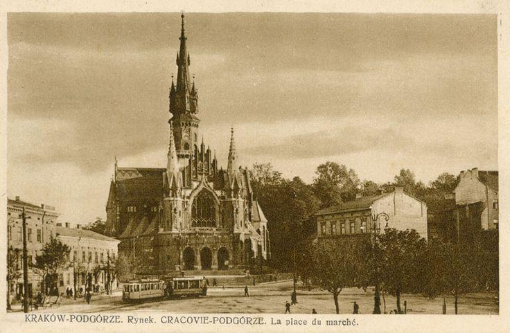 Rynek Podgórski z pętlą tramwajową. Ze zbiorów Marka Sosenki.Galeria: Dawne widokówki.
