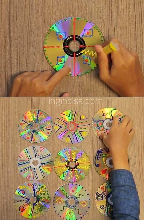 Tutorial Membuat Hiasan Dinding dari CD Bekas
