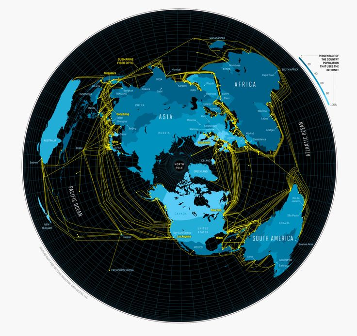 This map from 2011 by designer Nicolas Rapp shows the fiber optic cables that traverse the oceans carrying information from one continent to the other. The shades of blue show the percentage of a country's population that uses the Internet (darker shades indicate a lower percentage).