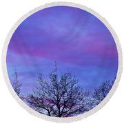 Tree Tops In The Sunset Round Beach Towel
