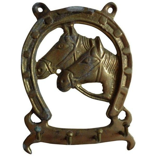 Vintage Brass Equestrian Lucky Horseshoe And Horse Heads With