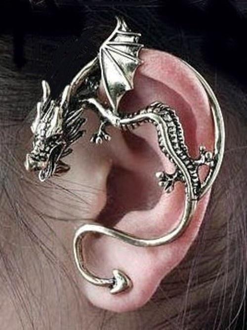 Silver Cuffed Dragon Earcuff - $12.00