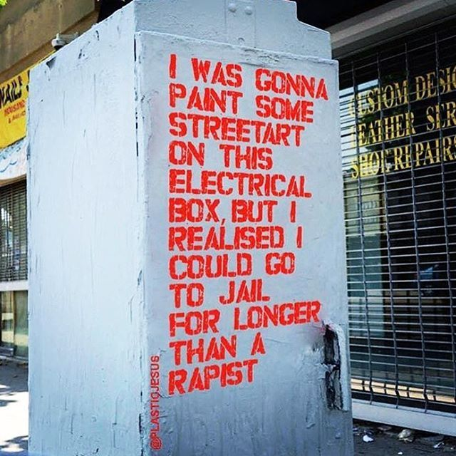 """""""I was going to paint some streetart on this electrical box, but I realized I could go to jail for longer than a rapist."""""""