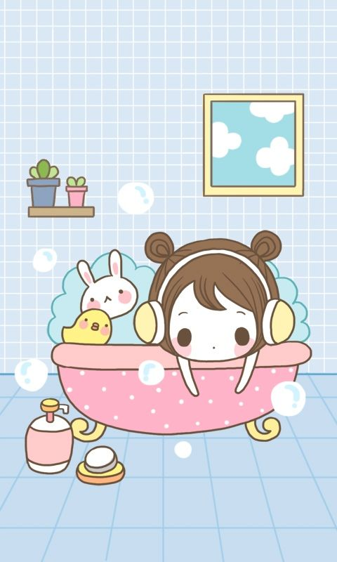 Image Of Taking a bath Find more kawaii wallpapers for your iPhone Android