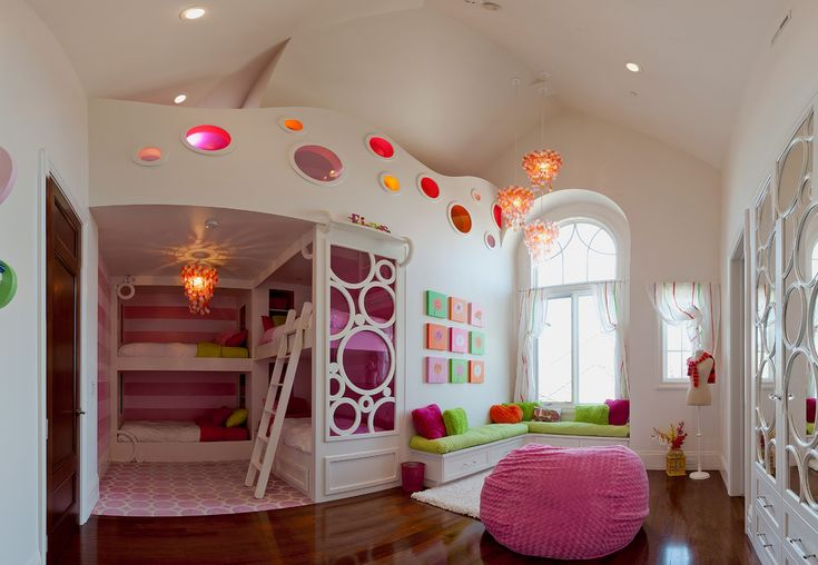 Incredible bean bag chair decorating ideas for appealing kids transitional design ideas with arched window dangling chandelier dark wood floor dream room girls bedroom girls