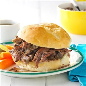 Shredded Beef au Jus Recipe -My mom found this recipe in a farm journal soon after she and my dad got married. The tender beef has been a family favorite for years, and my dad often requests it. —Danielle Brandt, Ruthton, Minnesota