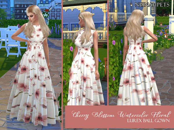 Neinahpets Cherry Blossom Watercolor Floral Ball Gown Mesh