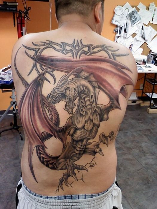 new back dragon tattoo design for men tattoos pinterest large new tattoos and search. Black Bedroom Furniture Sets. Home Design Ideas