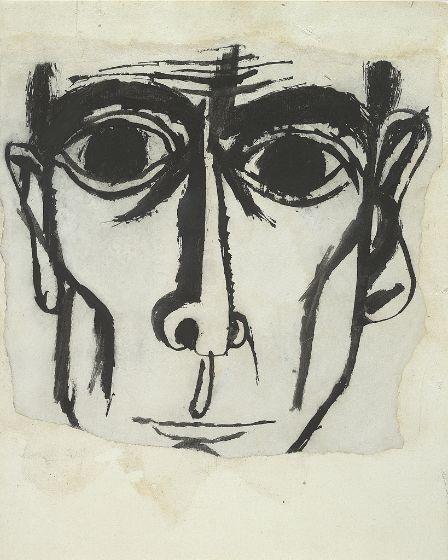 "Ben Shahn, drawing, J. Robert Oppenheimer  ""Who knows when a trenchant line becomes a human face?"" -- Ben Shahn"
