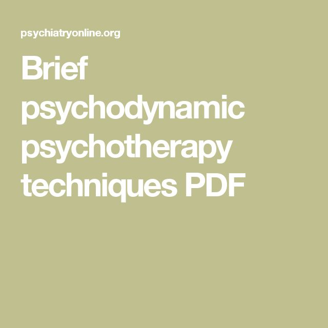 Brief psychodynamic psychotherapy techniques PDF