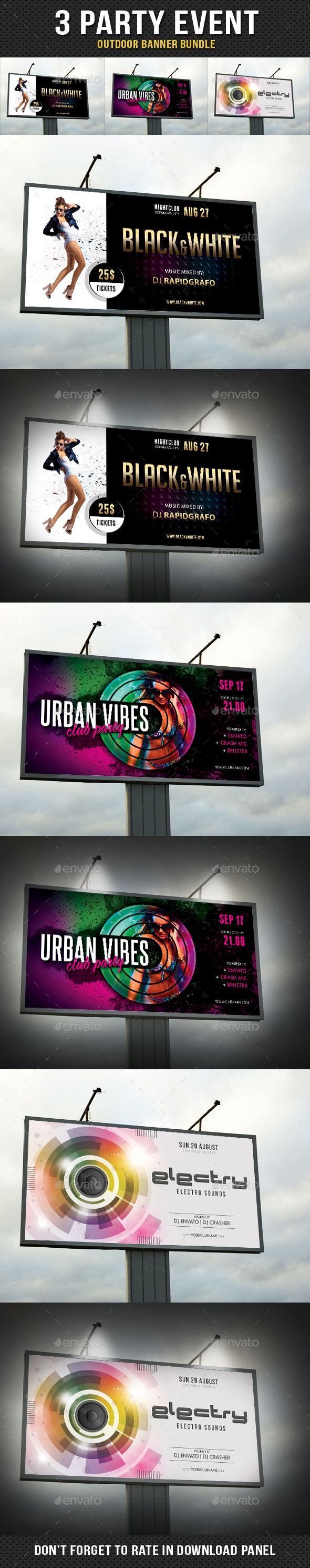 3 in 1 Party Event Outdoor Banner Bundle 02 - Signage Print Templates