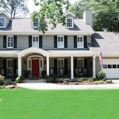 Grey Exterior Paint, White Trim, Dark Navy Shutters, and a Red Door... Color schemes for painting the house.