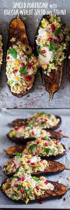 This spiced #aubergine with #bulgurwheat #salad and #tahini sauce dish makes a great #appetizer and #entree. It's #easy to make, naturally #vegan and can easily be made #glutenfree too!   #recipe #vegetarian #dinner #lunch #eggplant #middleeastern