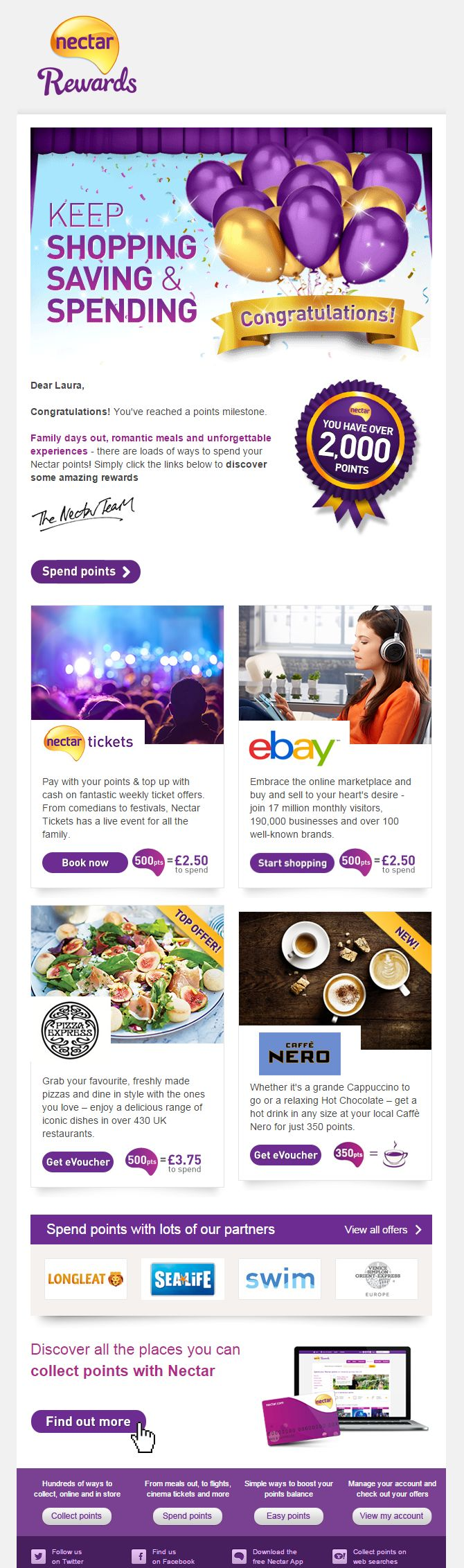 """You have over 2,000 points"" congratulations email with recommendations on how to spend the points #EmailMarketing #Email #Marketing #Loyalty #Shopping #Retail #Special #Occasion"