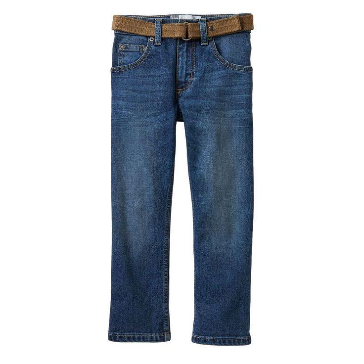 Boys 4-7x Lee Dungarees Slim Straight-Leg Jeans with Easy-Snap Belt, Size: medium (5), Light Blue