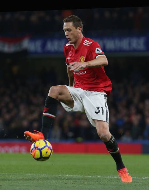 Nemanja Matic of Manchester United in action during the Premier League match between Chelsea and Manchester United at Stamford Bridge on November 5...