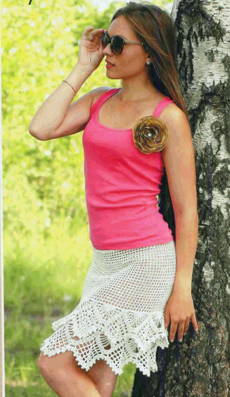 Кремовая юбка крючком