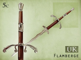 A nice Flamberge, part of the British Swords collection in www.stampfrenzy.com.