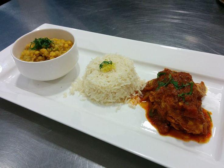 colour dal mixed legumes, basmati rice, deep fried poori, Bhuna ghosht chicken, deep fried poori