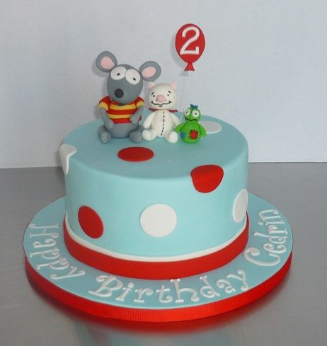 "Toopy and Binoo cake - Toopy, Binoo and Patchypatch on top of an 8"" round"