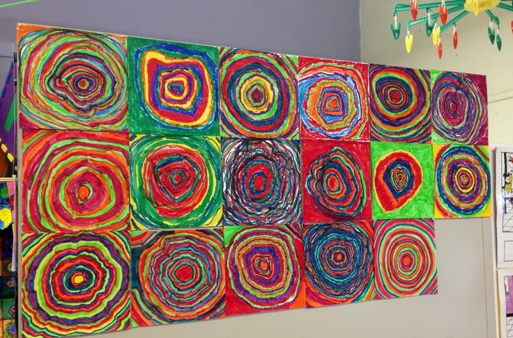 Classe de maternelle-crayon feutre  inspiration Kandinsky