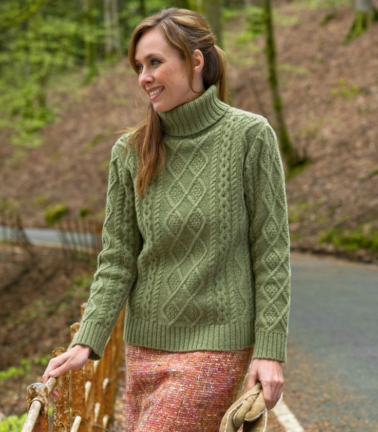 Woman & Art: Chunky Cable Polo Neck Jumper