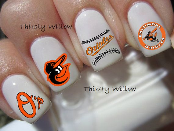 The Baltimore Orioles transfers are clear and can be polished with a clear top coat to give extra shine or adhere to your already painted nails.